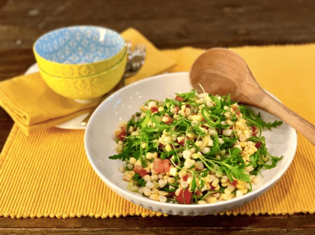 Shungiku and Corn Salad by Jonathan Bardzik