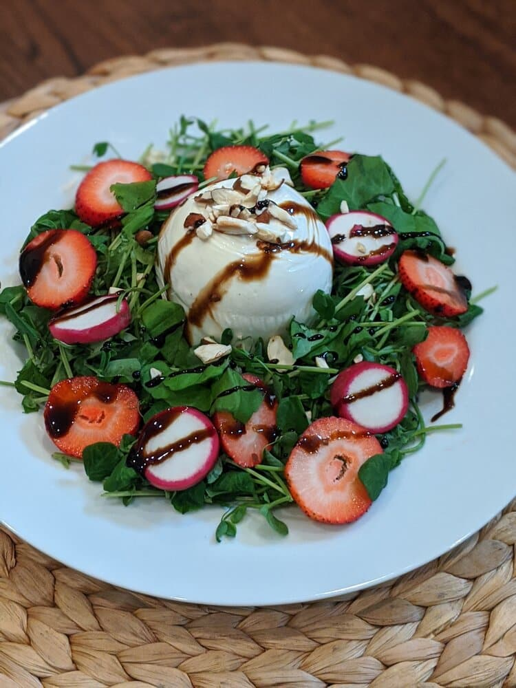 LWT Pea Shoot and Strawberry Caprese Salad